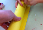 Roll const. paper around paper towel tube